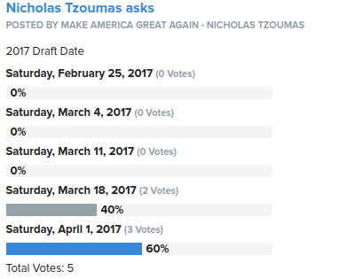 2017 Draft Date Vote